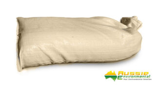 Poly Sand bag filled brown flood protection