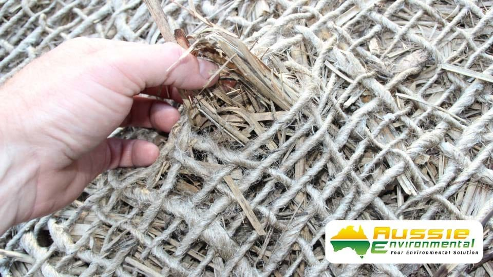 Jute Mesh Over Cane Mulch Close Up Photo