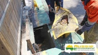 Silt Filter Removal from stormwater drain for debris capture