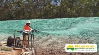 Spraying Hydromulch Along Batter From Aussie Environmental