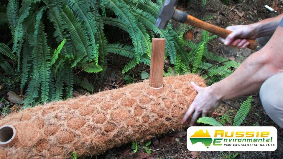 Coir Log Timber Stake Installation Pre Drilled Holes