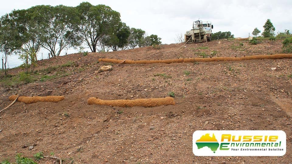Coir Log Bank Installation For Sediment Control