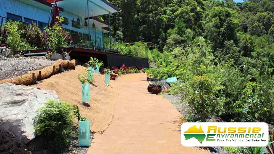 Erosion Control Blankets and Coir logs for Revegetation