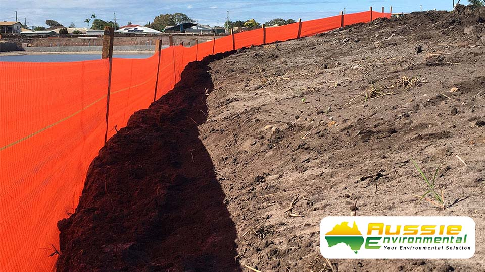 Silt Fence Installation For Construction Site For Erosion Control