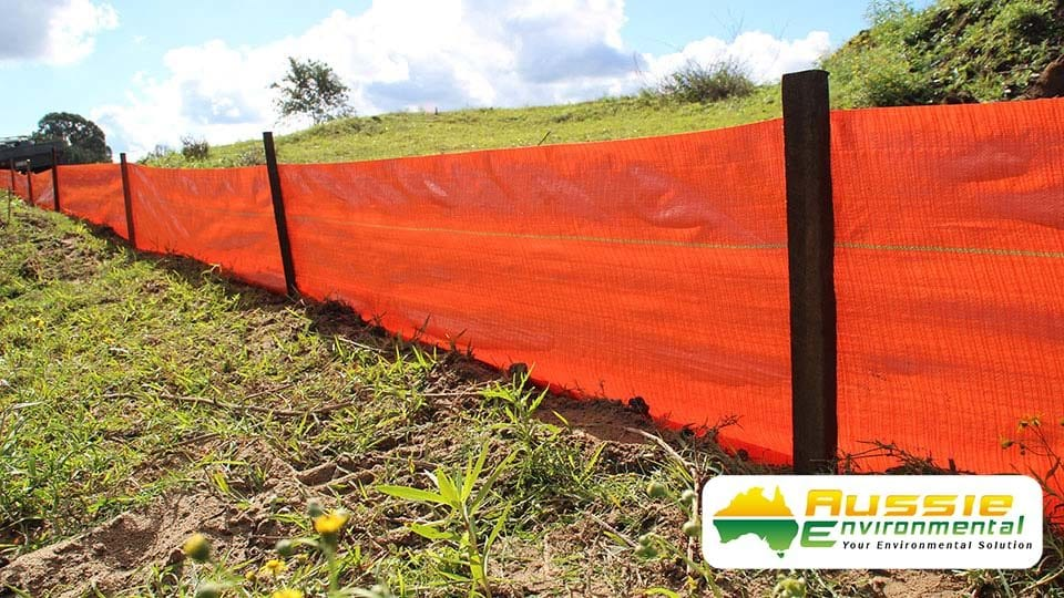 Hi Vis Orange Silt Fence Installation On Property