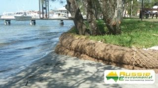 Erosion Control Coir Log Wall, Bank Protection