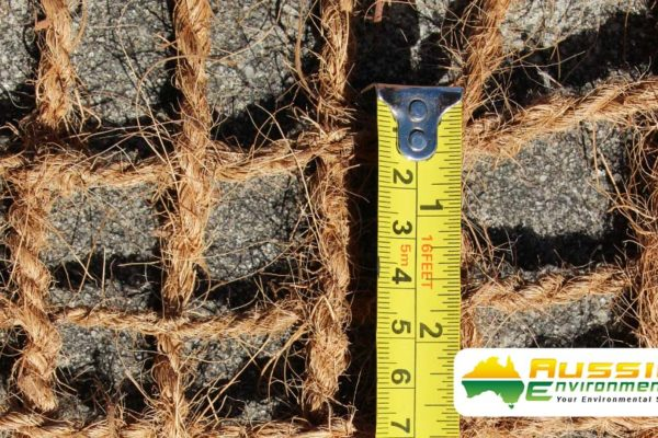 Coir Mesh 400gsm For Erosion Control Showing Open Weave Size