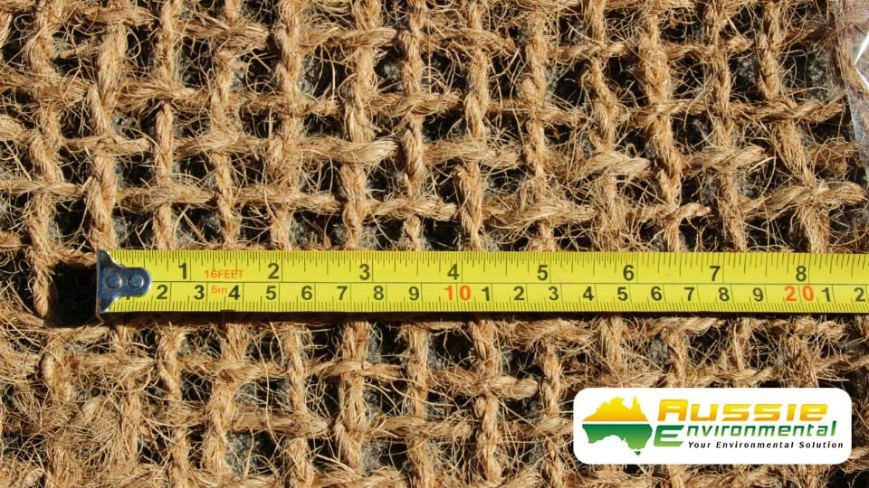 Erosion Control Blanket, Coir Mesh 700gsm Showing Open Weave Size