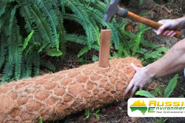 Coir Log Installation With Timber Stakes, with Easy Installation Holes
