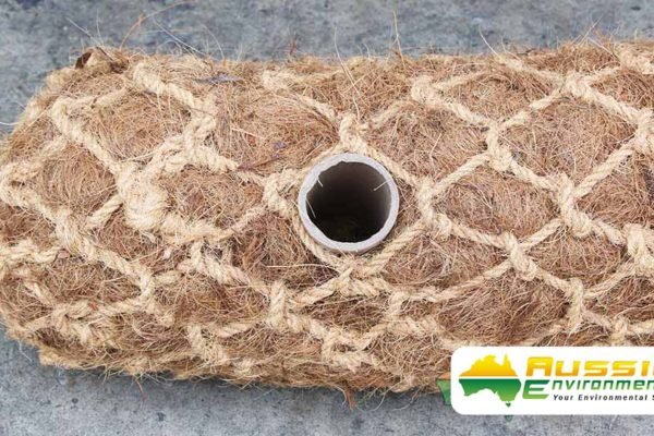 Coir Log Pre-Drilled Hole For Easy Installation From Aussie Environmental