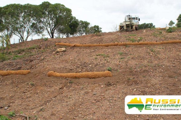 Coir Log bank installation 1
