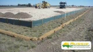 Coir Log Installation With Silt Fence For Erosion Control From Aussie Environmental