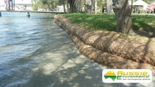Coir Log Installation Bank Wall For Erosion Bank Control