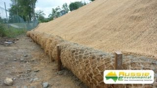 Coir Logs & Coir Mesh Installation With Hydromulching Application