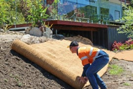 Erosion Control Blanket Installation, Home Landscaping Project