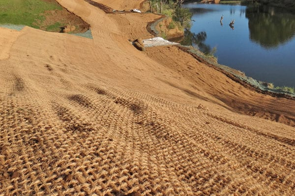 Coir Mesh Installation for Erosion Control