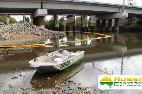 Silt Curtain Installation In River From Aussie Environmental