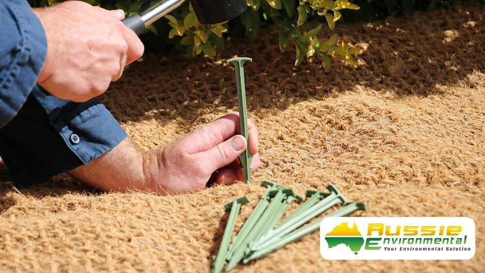 Biodegradable pin inserting into erosion control blanket