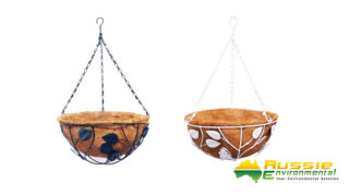 Coir Wall Baskets with metal chain White Green centred