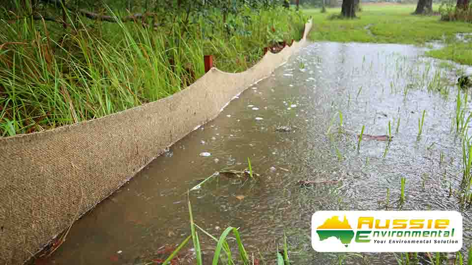 Biodegradable Silt Fence Jute Geotextile Silt Barrier